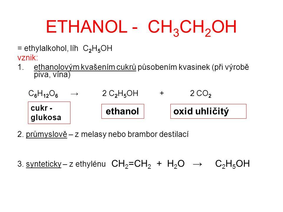 ETHANOL - CH3CH2OH ethanol oxid uhličitý = ethylalkohol, líh C2H5OH