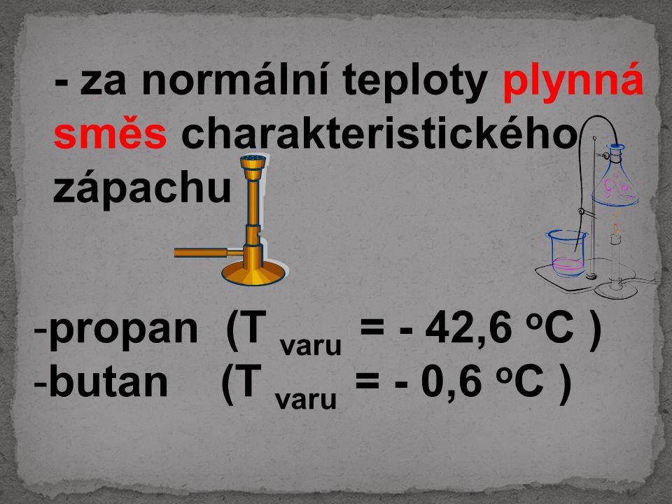 propan (T varu = - 42,6 oC ) butan (T varu = - 0,6 oC )