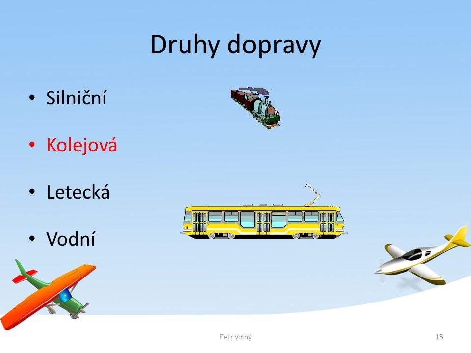 Druhy dopravy Silniční Kolejová Letecká Vodní Petr Volný