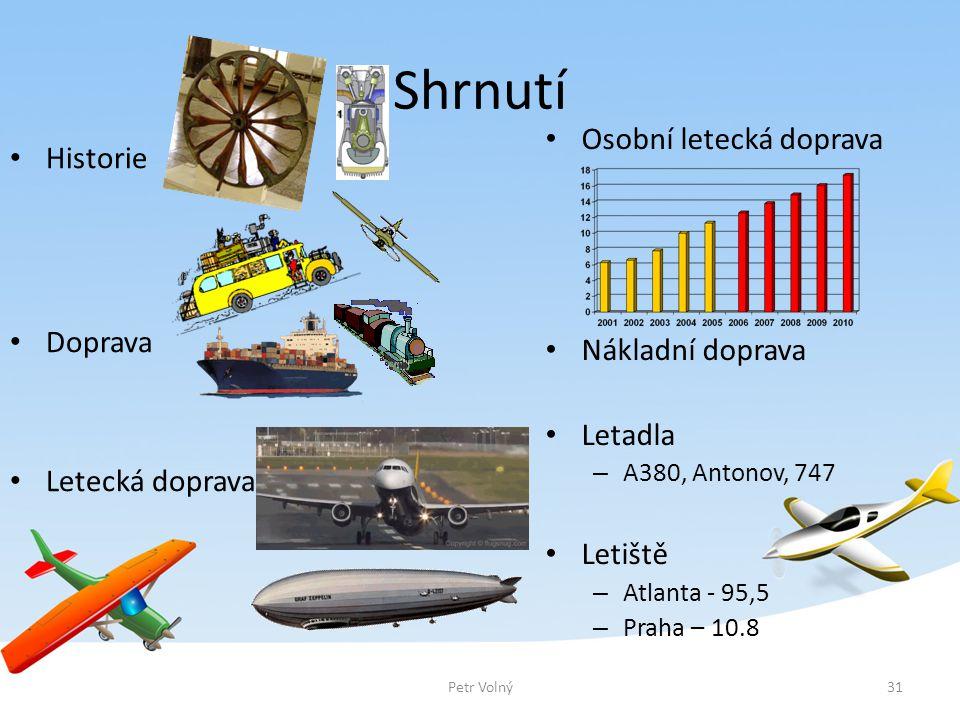 Shrnutí Osobní letecká doprava Historie Doprava Nákladní doprava