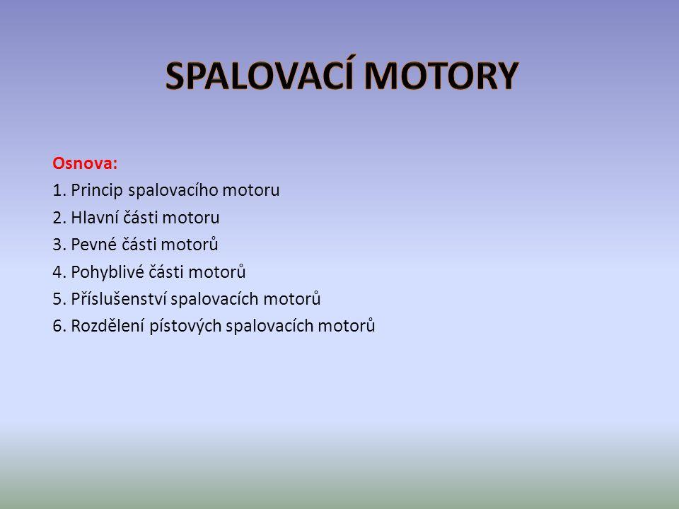 SPALOVACÍ MOTORY Osnova: 1. Princip spalovacího motoru