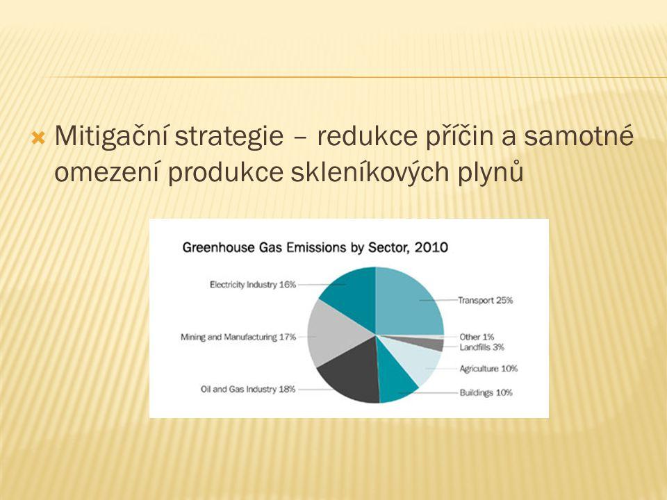 Mitigační strategie – redukce příčin a samotné omezení produkce skleníkových plynů
