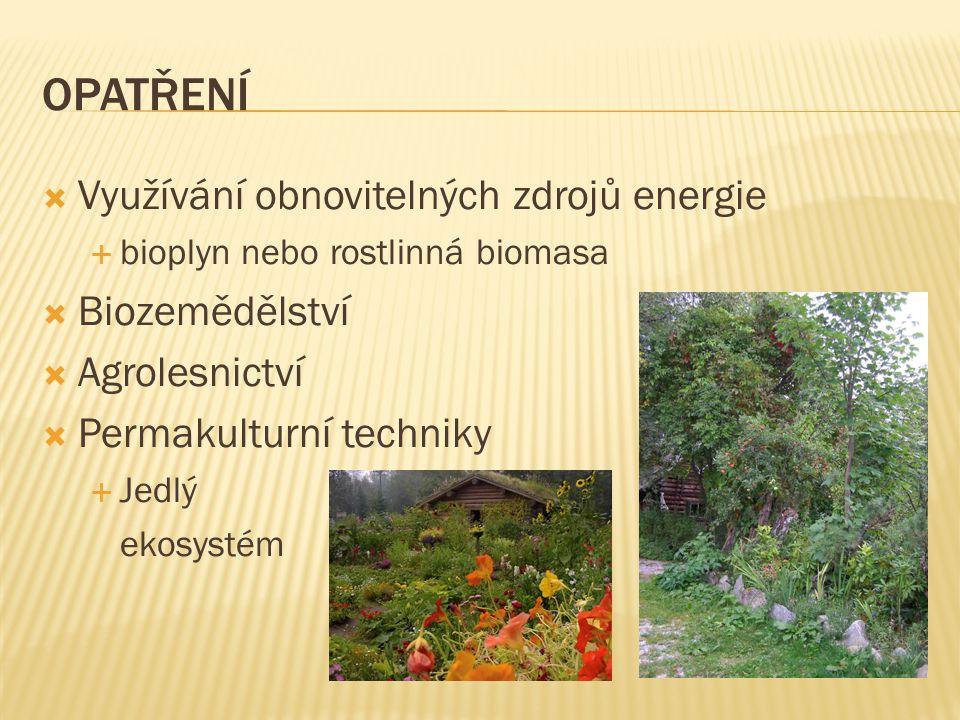 OPATŘENÍ Využívání obnovitelných zdrojů energie Biozemědělství