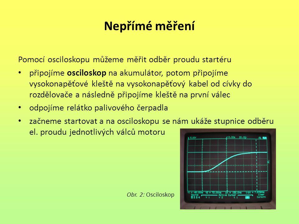 Nepřímé měření Pomocí osciloskopu můžeme měřit odběr proudu startéru