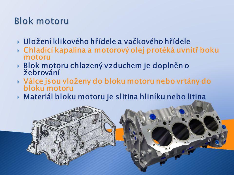 Blok motoru Uložení klikového hřídele a vačkového hřídele