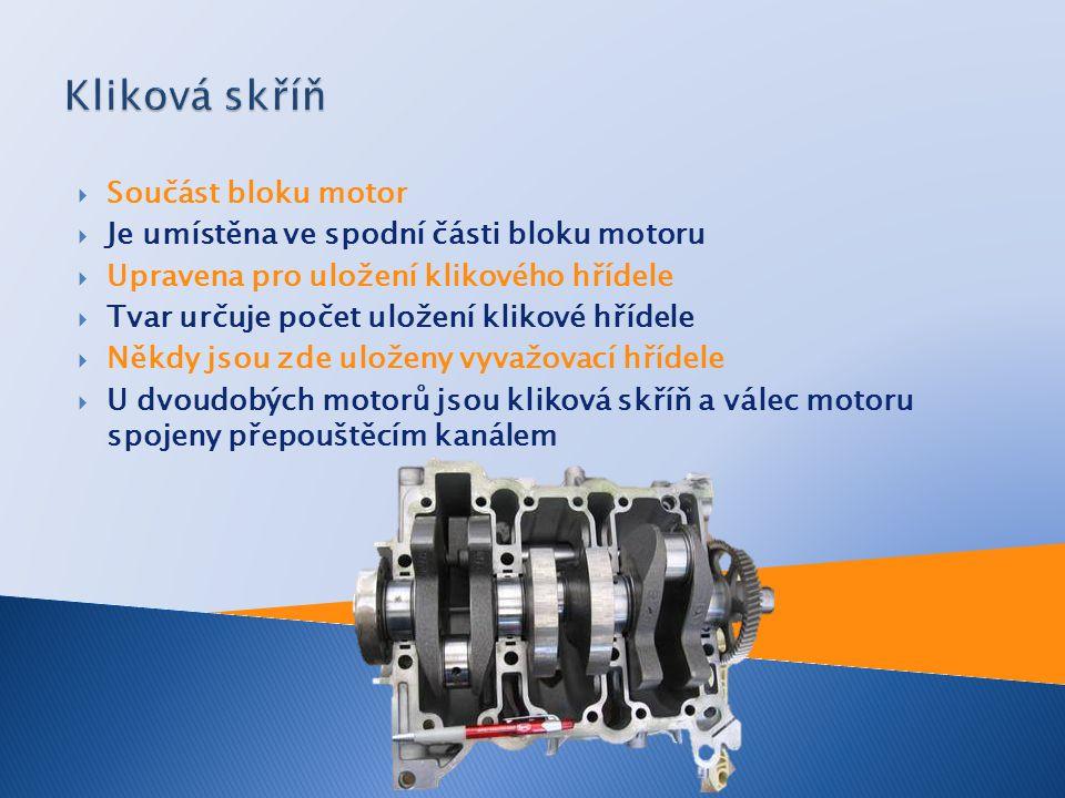 Kliková skříň Součást bloku motor