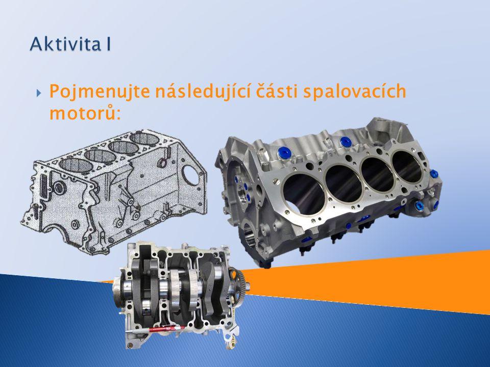 Aktivita I Pojmenujte následující části spalovacích motorů: