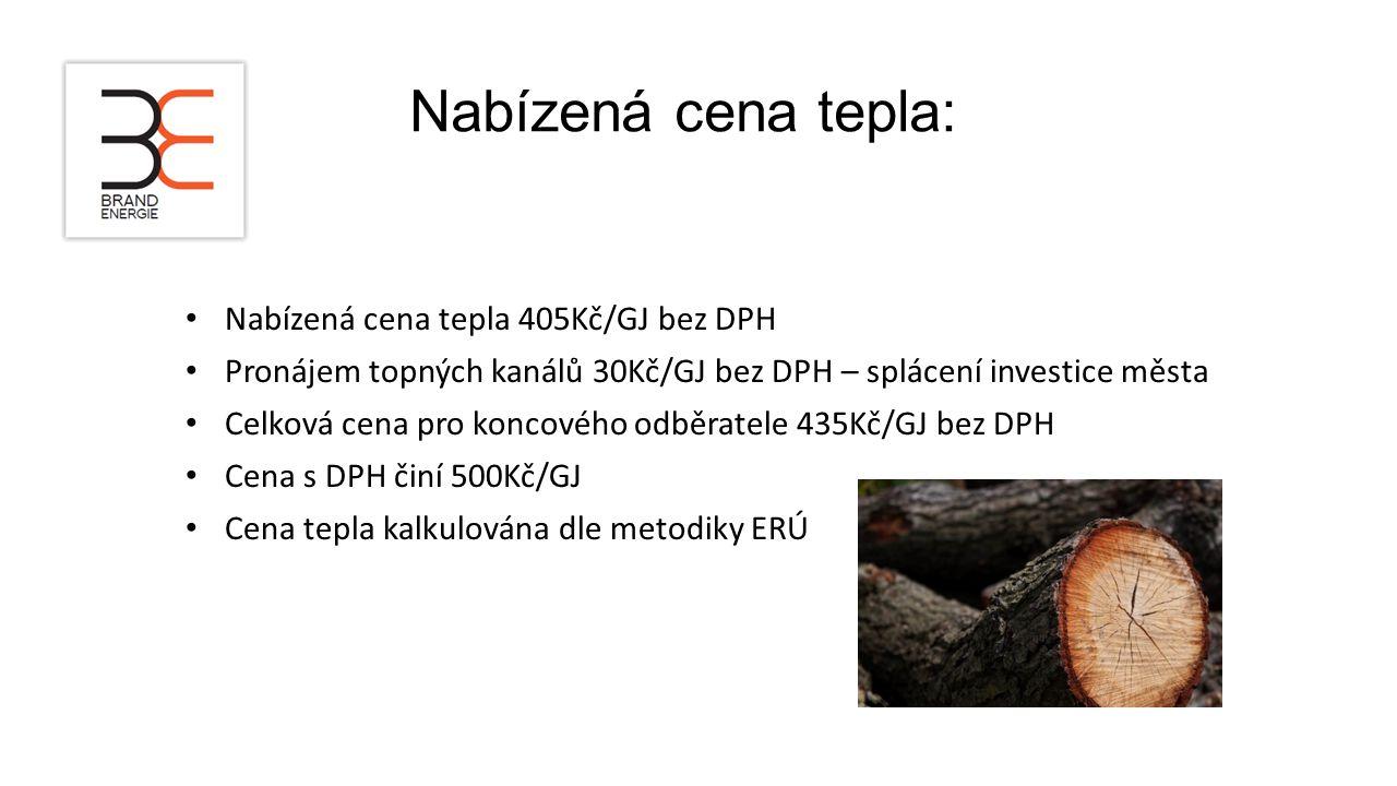 Nabízená cena tepla: Nabízená cena tepla 405Kč/GJ bez DPH