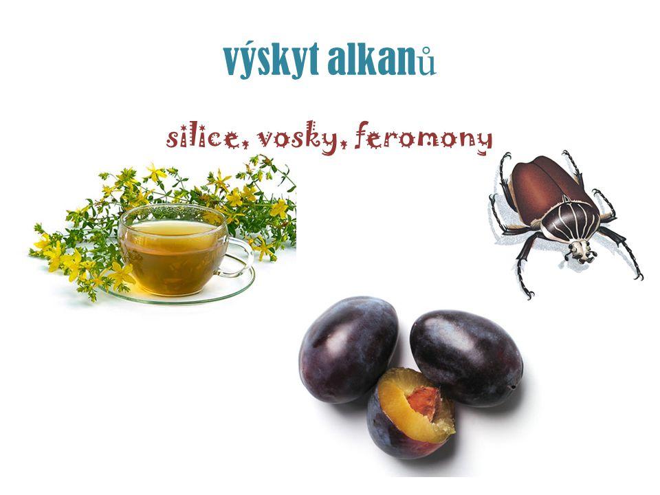 výskyt alkanů silice, vosky, feromony