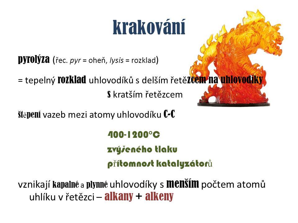 krakování pyrolýza (řec. pyr = oheň, lysis = rozklad) = tepelný rozklad uhlovodíků s delším řetězcem na uhlovodíky.