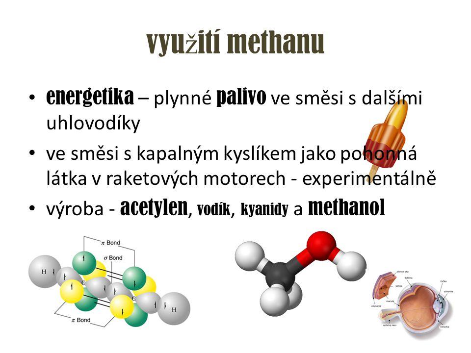 využití methanu energetika – plynné palivo ve směsi s dalšími uhlovodíky.