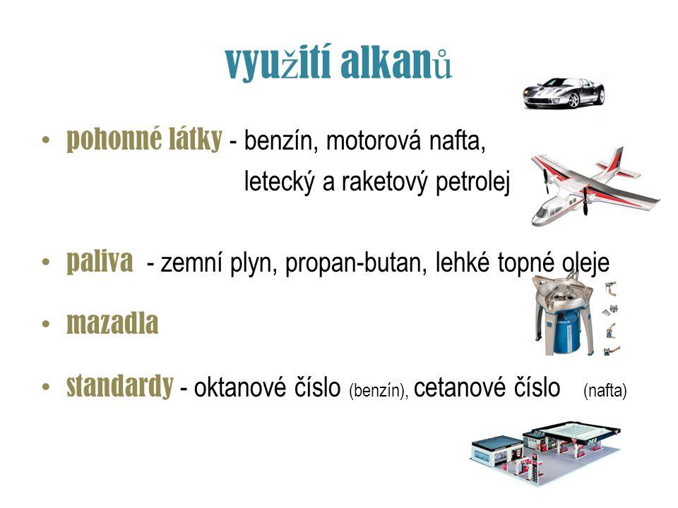 využití alkanů pohonné látky - benzín, motorová nafta,