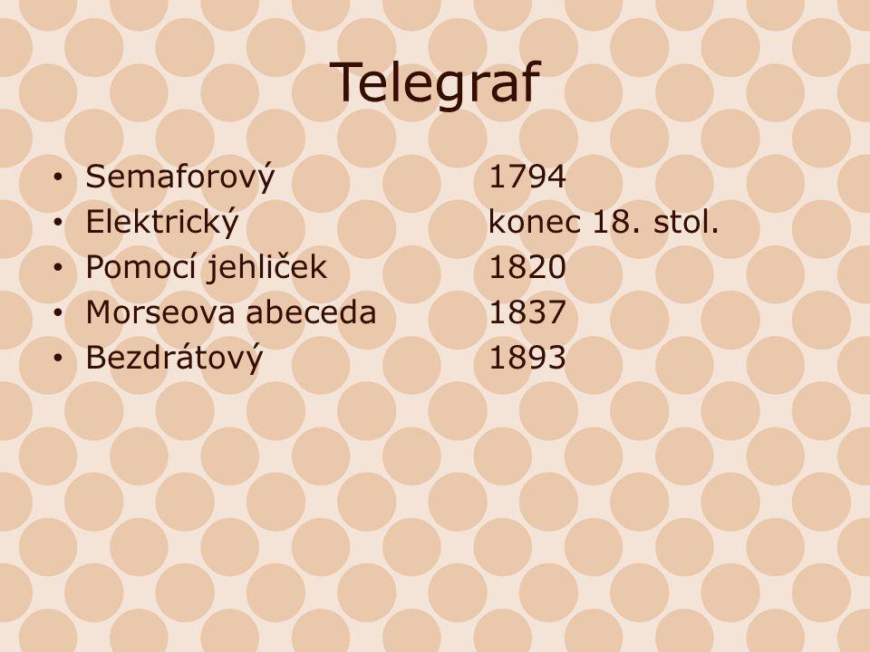Telegraf Semaforový 1794 Elektrický konec 18. stol.
