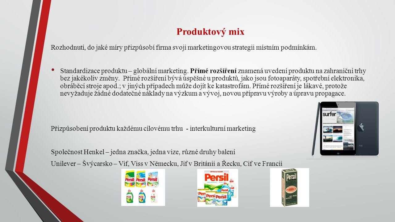 Produktový mix Rozhodnutí, do jaké míry přizpůsobí firma svoji marketingovou strategii místním podmínkám.