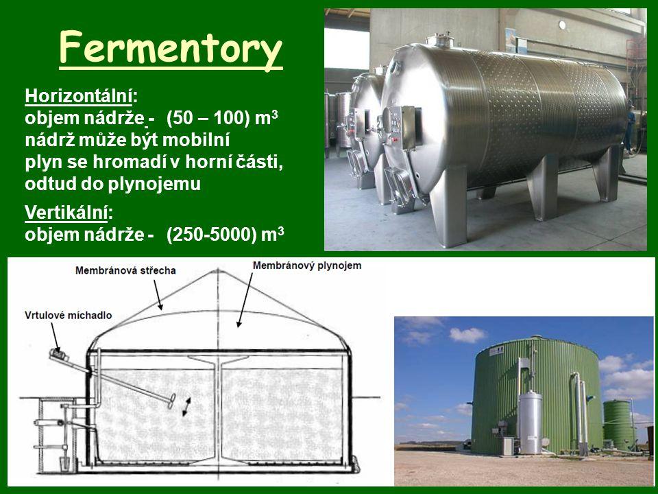 Fermentory Horizontální: objem nádrže - (50 – 100) m3