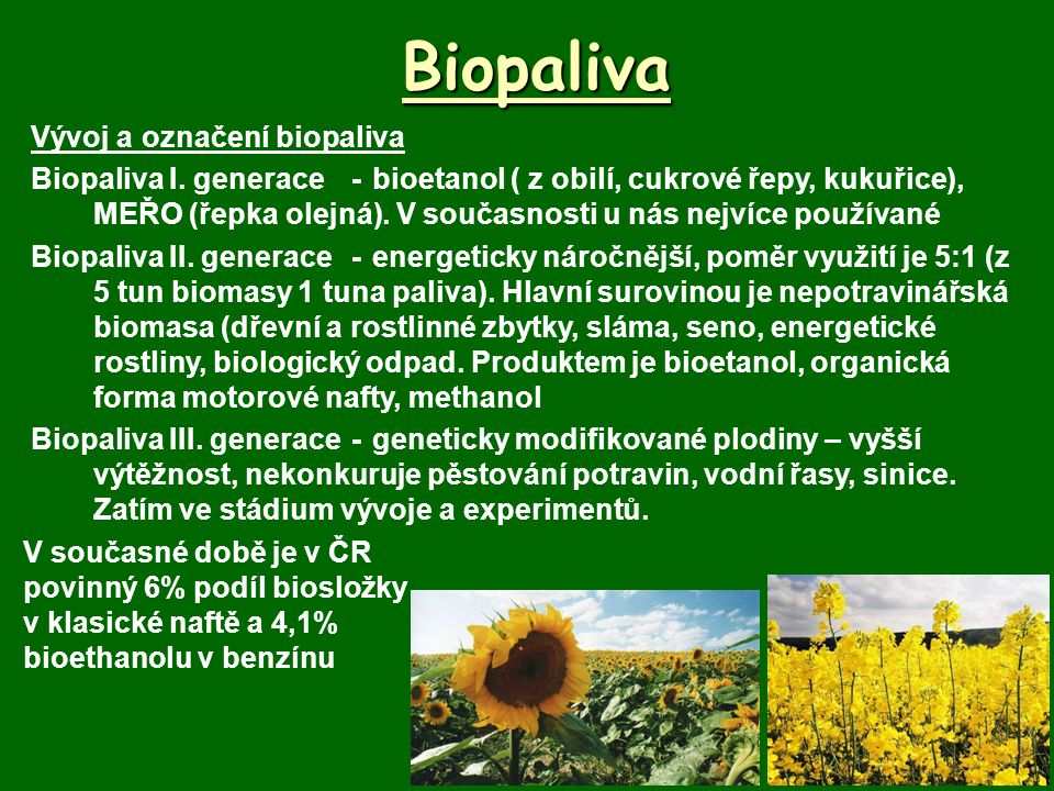 Biopaliva Vývoj a označení biopaliva