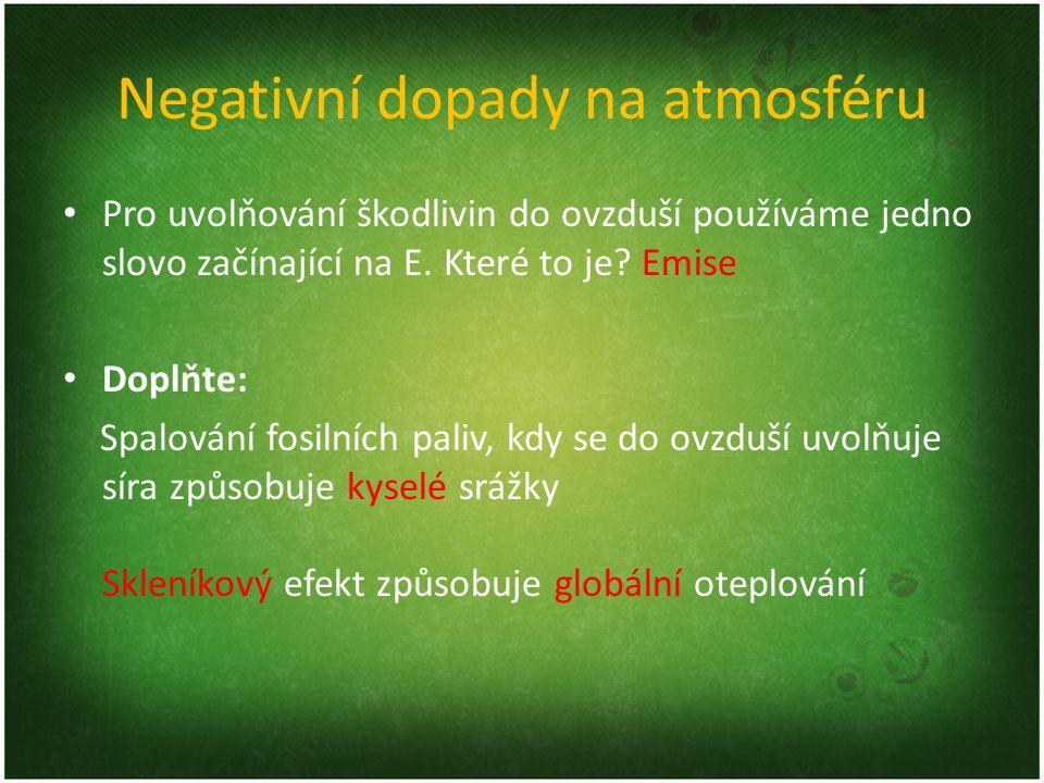 Negativní dopady na atmosféru
