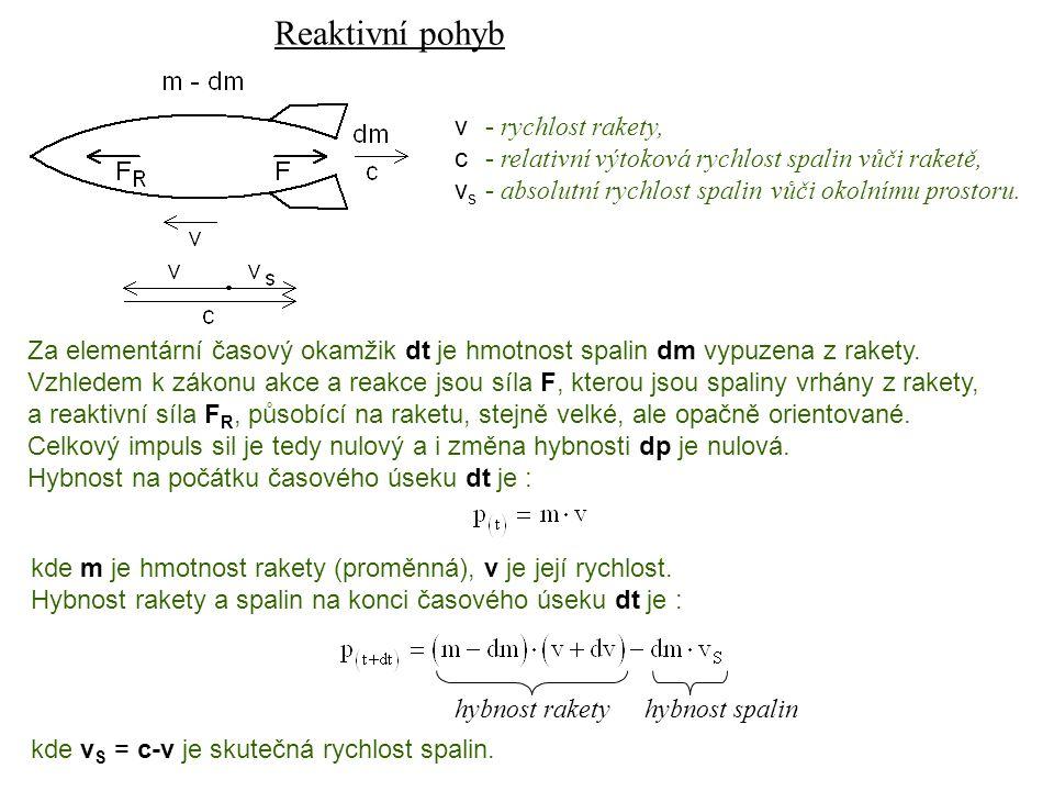 Reaktivní pohyb Dynamika I, 13. přednáška v - rychlost rakety,