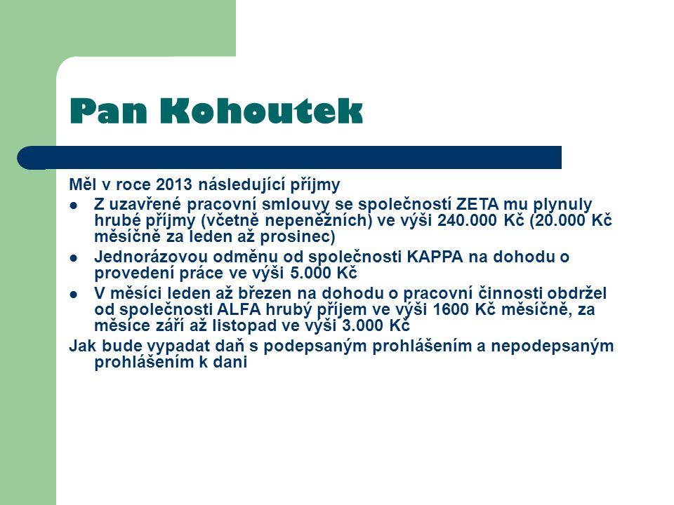 Pan Kohoutek Měl v roce 2013 následující příjmy