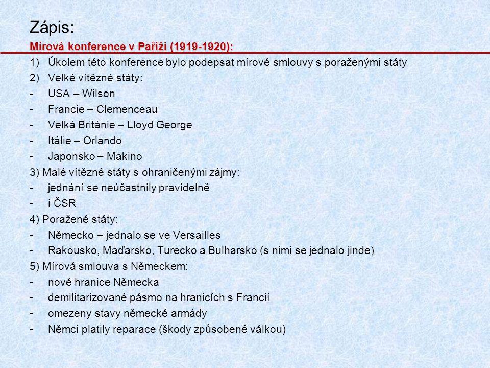 Zápis: Mírová konference v Paříži (1919-1920):