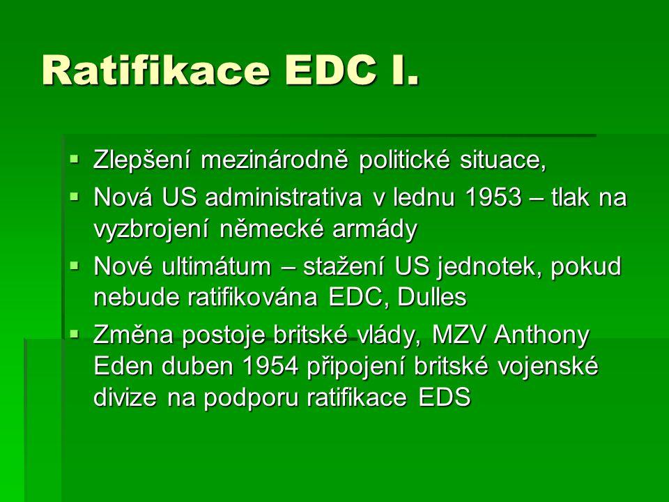 Ratifikace EDC I. Zlepšení mezinárodně politické situace,