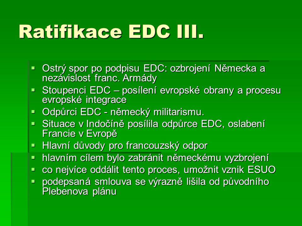 Ratifikace EDC III. Ostrý spor po podpisu EDC: ozbrojení Německa a nezávislost franc. Armády.