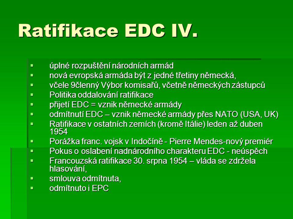 Ratifikace EDC IV. úplné rozpuštění národních armád