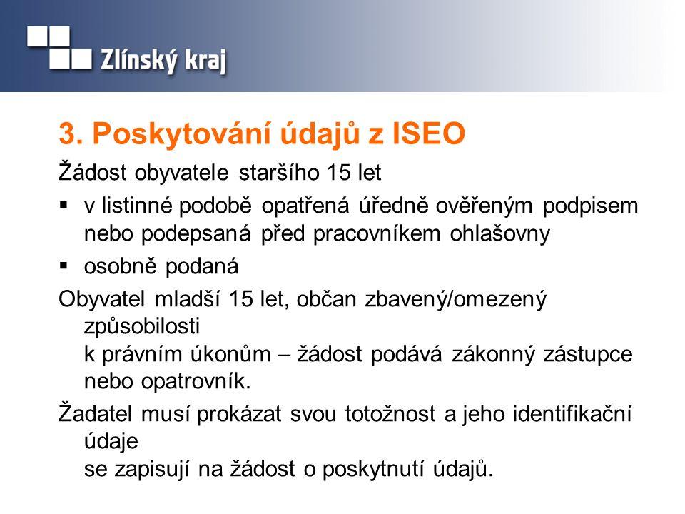 3. Poskytování údajů z ISEO