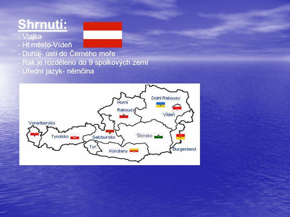 Shrnutí: - Vlajka - Hl.město-Vídeň - Dunaj- ústí do Černého moře