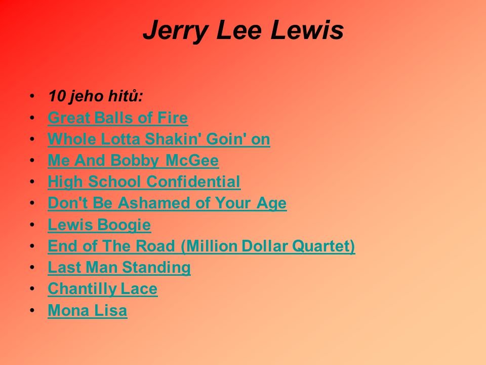 Jerry Lee Lewis 10 jeho hitů: Great Balls of Fire