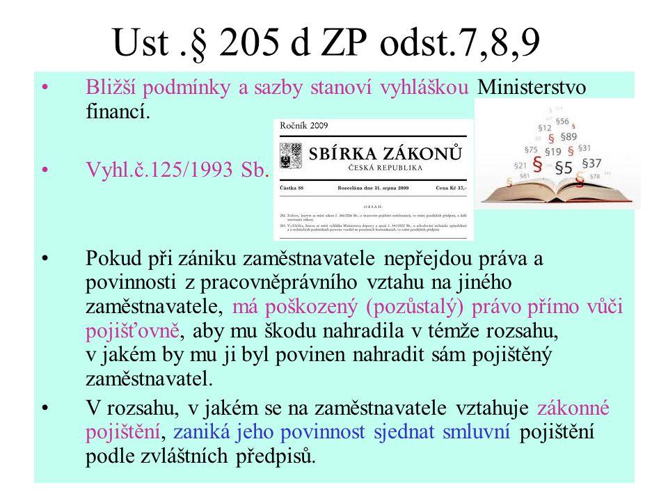 Ust .§ 205 d ZP odst.7,8,9 Bližší podmínky a sazby stanoví vyhláškou Ministerstvo financí. Vyhl.č.125/1993 Sb.