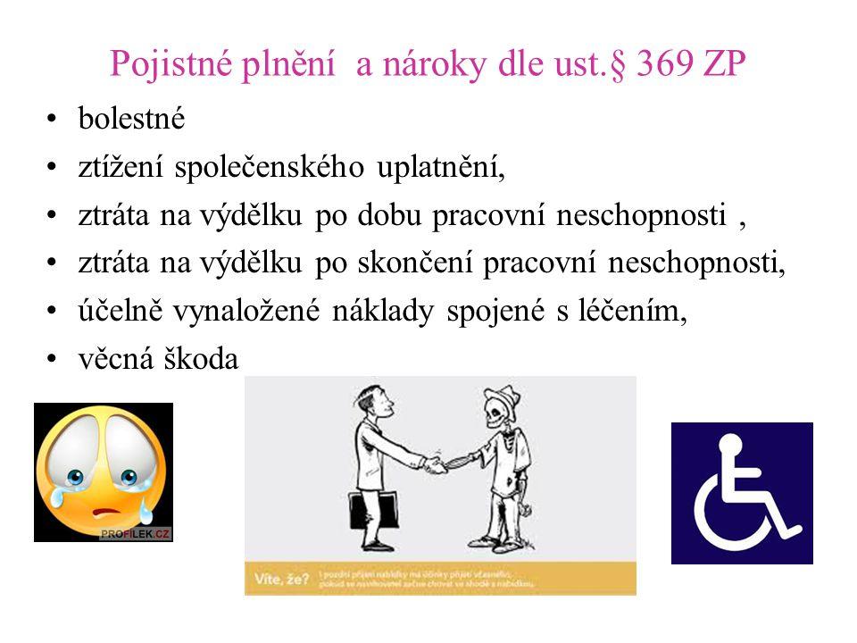 Pojistné plnění a nároky dle ust.§ 369 ZP