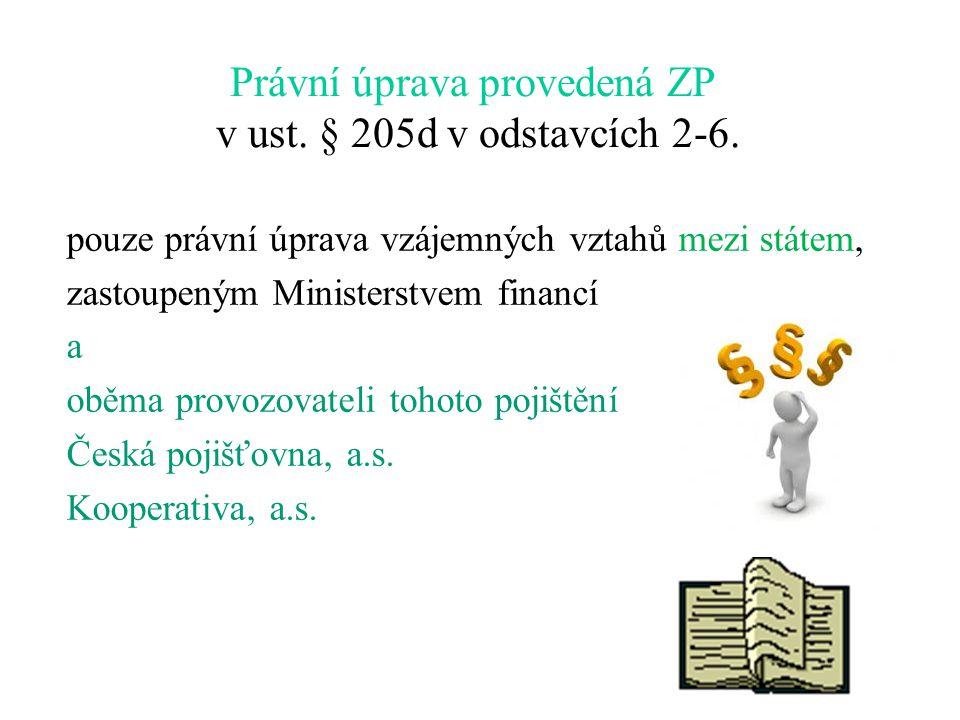 Právní úprava provedená ZP v ust. § 205d v odstavcích 2-6.