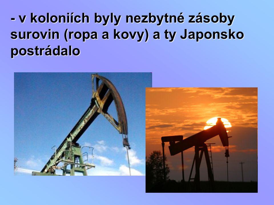 - v koloniích byly nezbytné zásoby surovin (ropa a kovy) a ty Japonsko postrádalo