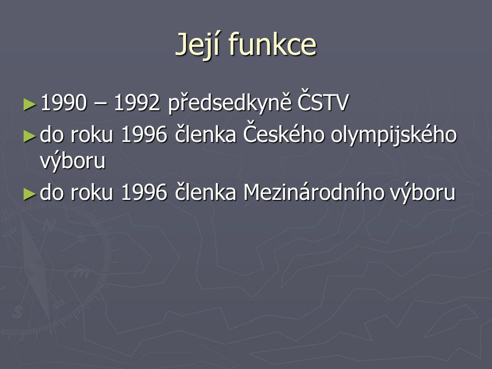 Její funkce 1990 – 1992 předsedkyně ČSTV