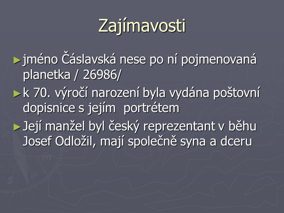 Zajímavosti jméno Čáslavská nese po ní pojmenovaná planetka / 26986/
