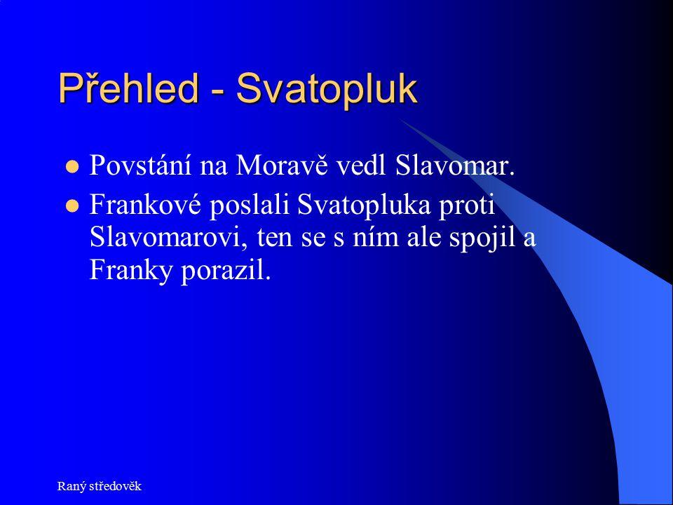 Přehled - Svatopluk Povstání na Moravě vedl Slavomar.