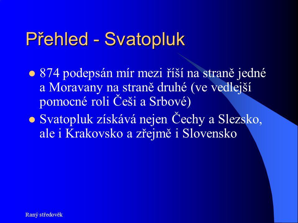 Přehled - Svatopluk 874 podepsán mír mezi říší na straně jedné a Moravany na straně druhé (ve vedlejší pomocné roli Češi a Srbové)