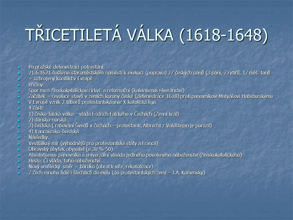 TŘICETILETÁ VÁLKA (1618-1648) Po pražské defenestraci potrestání: