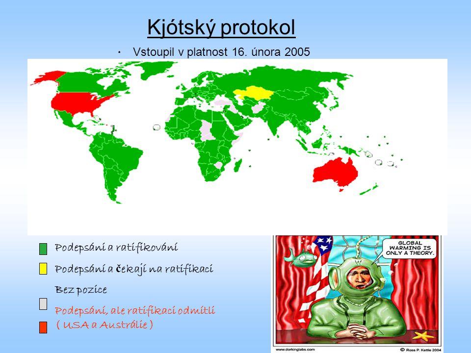 Kjótský protokol Vstoupil v platnost 16. února 2005