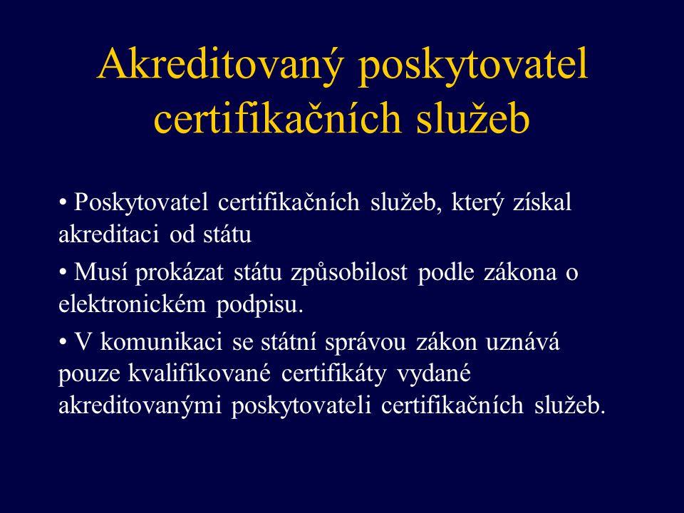 Akreditovaný poskytovatel certifikačních služeb