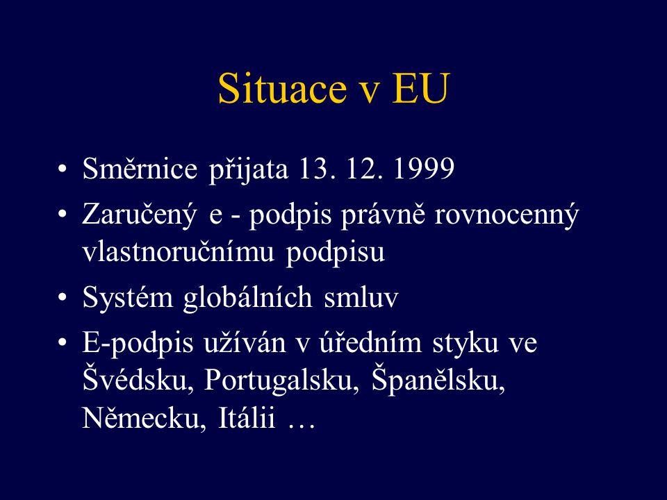 Situace v EU Směrnice přijata 13. 12. 1999