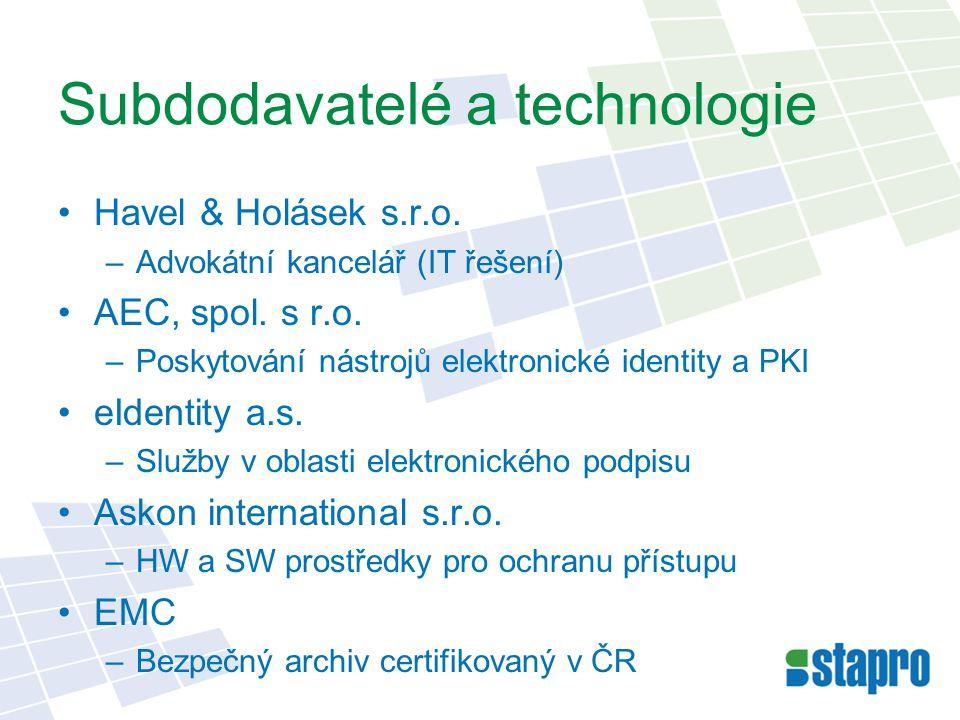 Subdodavatelé a technologie