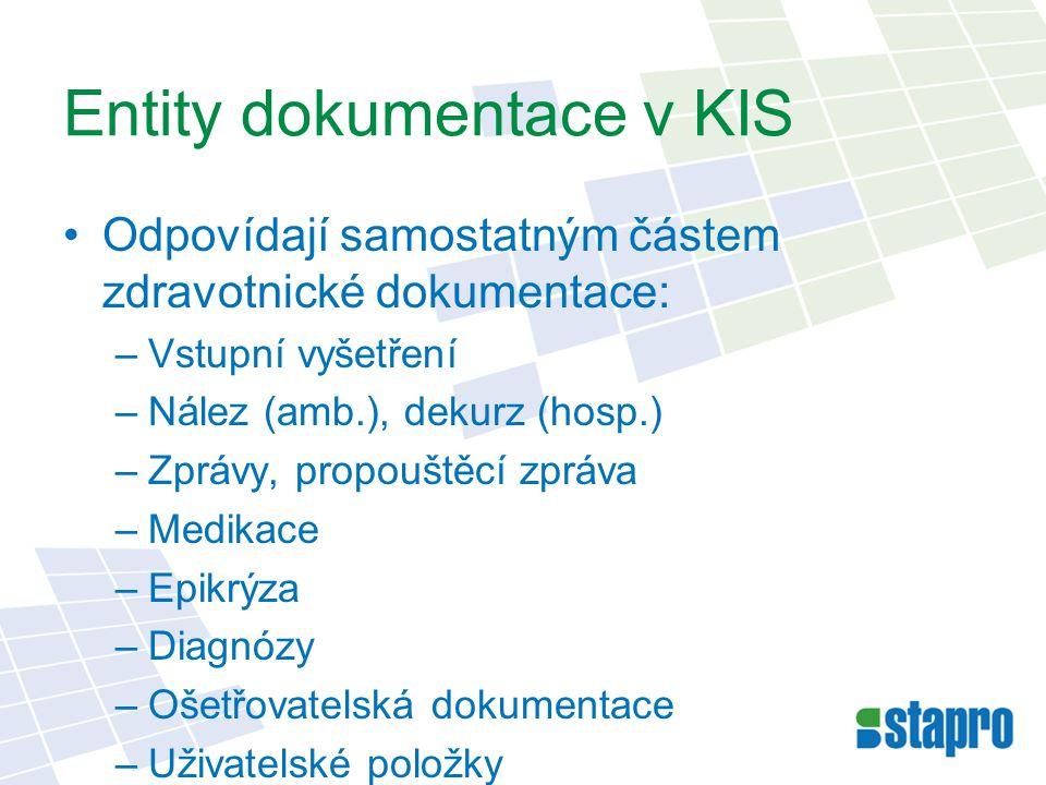 Entity dokumentace v KIS