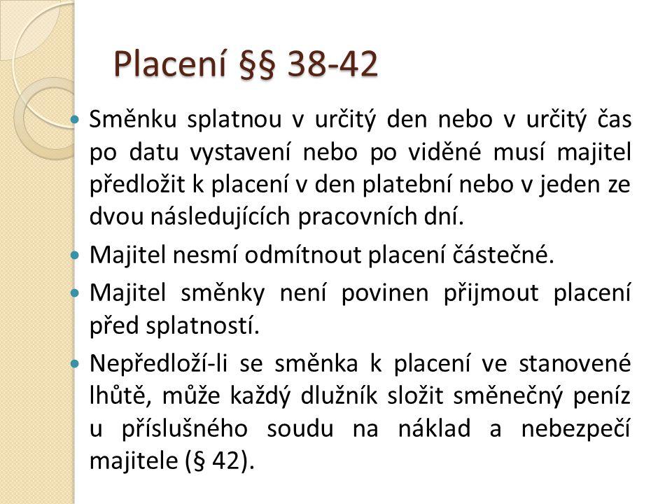Placení §§ 38-42