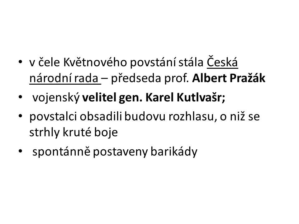 v čele Květnového povstání stála Česká národní rada – předseda prof
