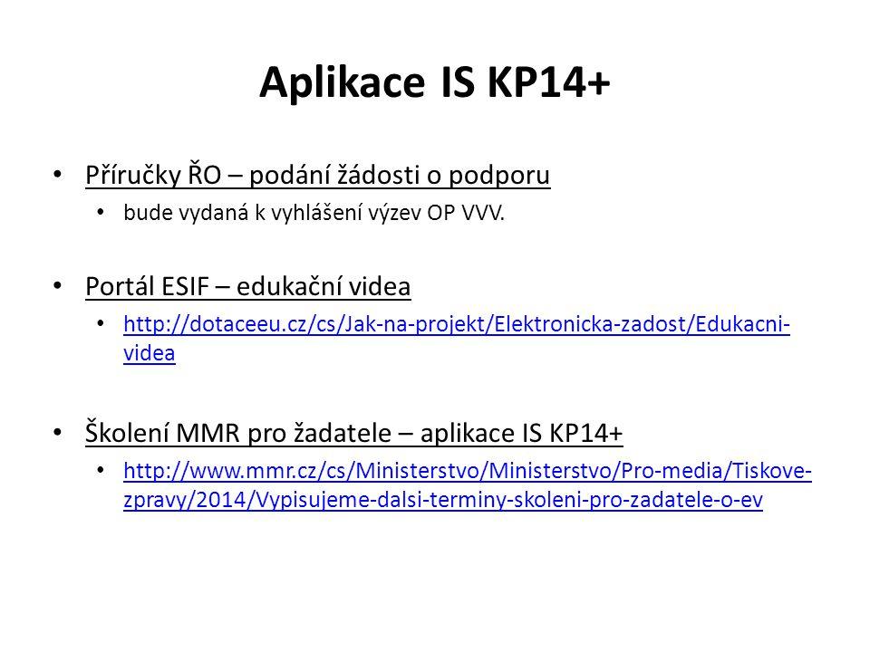 Aplikace IS KP14+ Příručky ŘO – podání žádosti o podporu