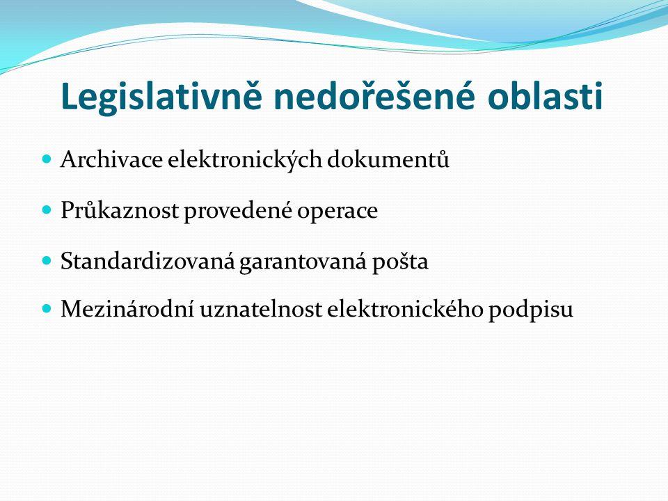 Legislativně nedořešené oblasti