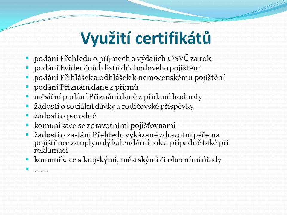 Využití certifikátů podání Přehledu o příjmech a výdajích OSVČ za rok