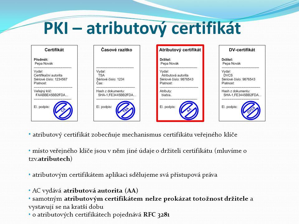 PKI – atributový certifikát